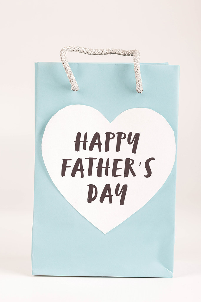 Blue gift bag with the words Happy Father's Day