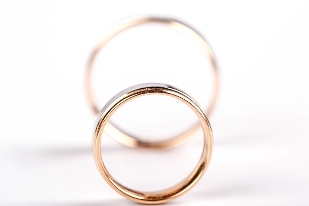 Two wedding rings on white