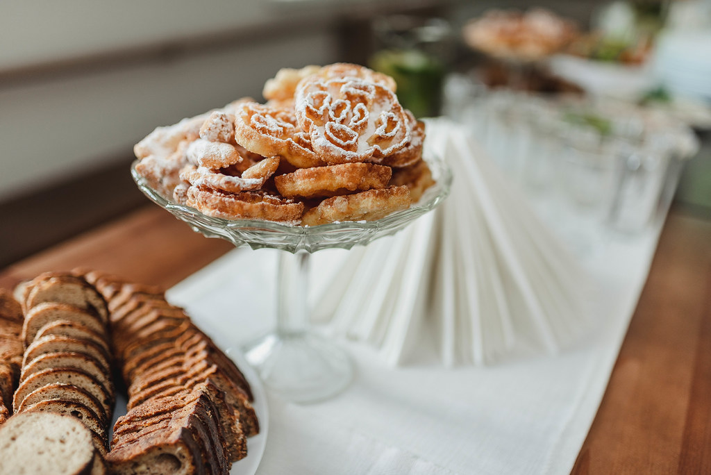 Different Dessert Snacks, Appetizerd, Bread  On Served Table