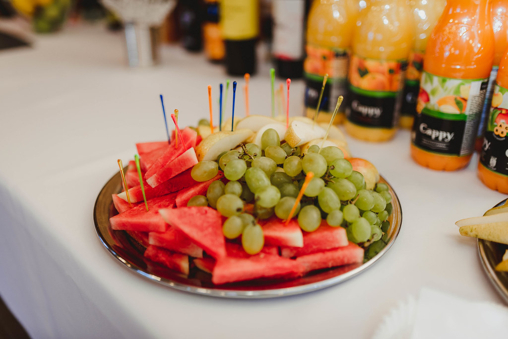 Fruit Plate With Watermelon And Grapes On Event Table