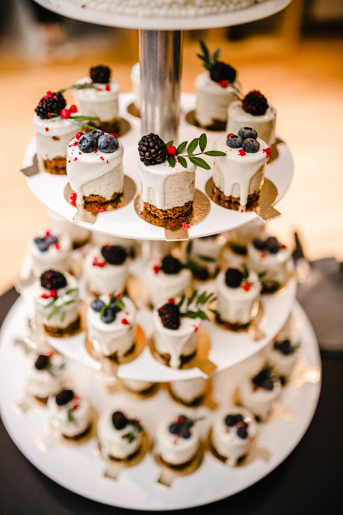 Cheese Cake Little Bites With Berries On Event