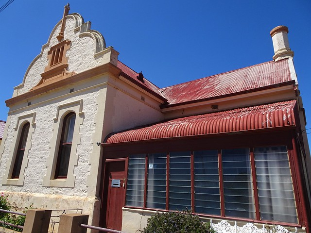 Photo:Quorn South Australia. This Dutch gable adorns the old English Scottish and Australian bank which was built in 1881. It is now a fine little cafe. The louvred veranda is a more recent addition. By denisbin