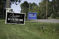 Quinn Nystrom for Congress sign and Biden Harris sign in Aitkin, Minnesota