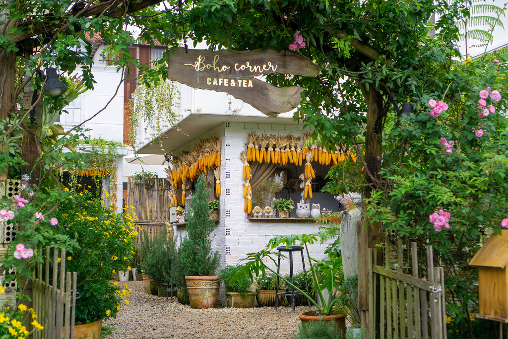 Entrance of a Cafe with many Plants and Flowers in Dalat, Vietnam