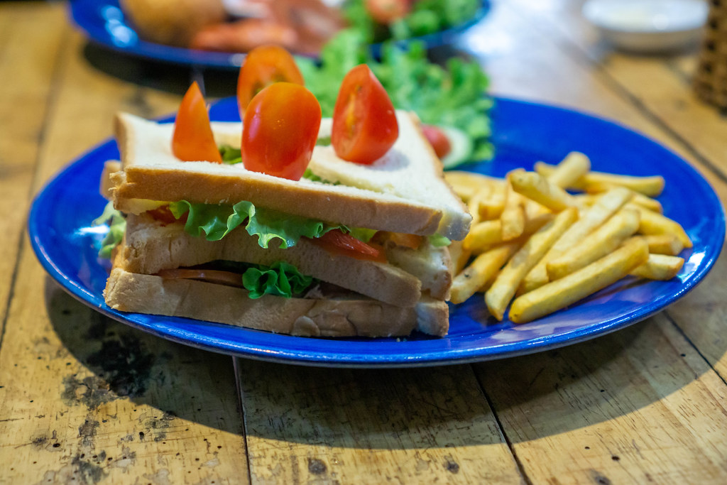 Close Up Photo of Tuna Sandwich with Lettuce and French Fries on Side on a Blue Plate