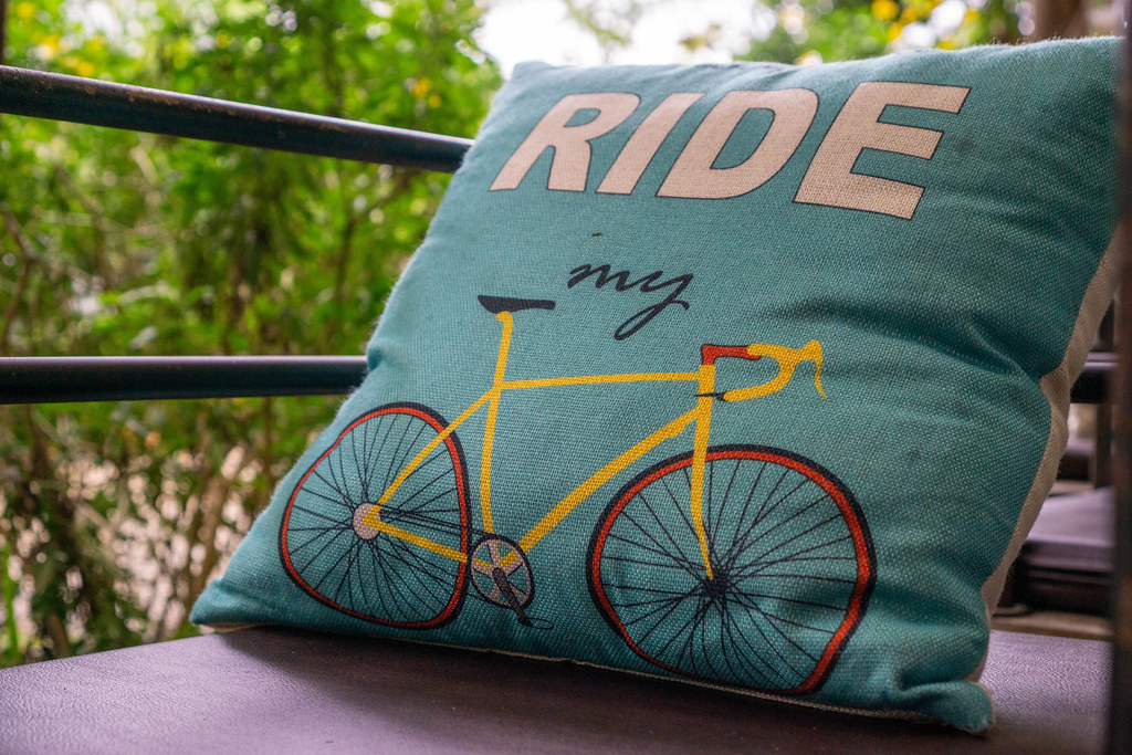 Close Up of Pillow with Words 'Ride my' and a Road Bike Print