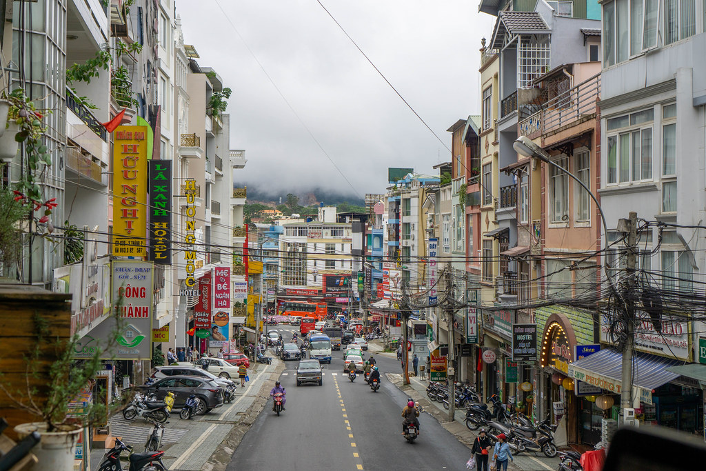 Busy Streets of Dalat, Vietnam with Clouds coming from the Mountains