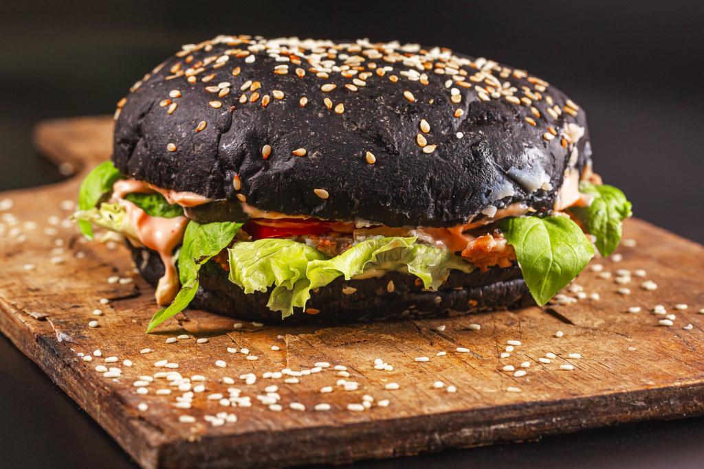 Delicious black hamburger with squid ink