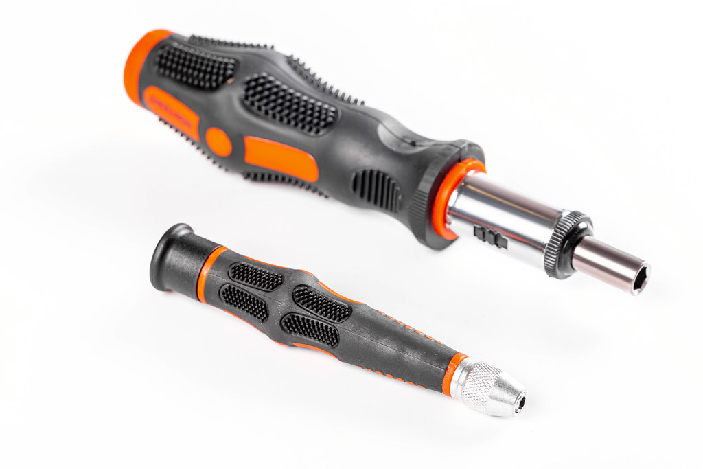 Two screwdrivers on a white background