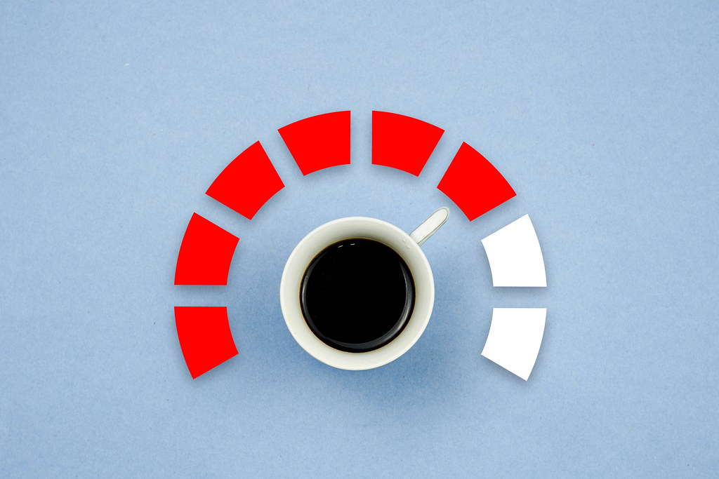 Burst of energy with cup of morning coffee