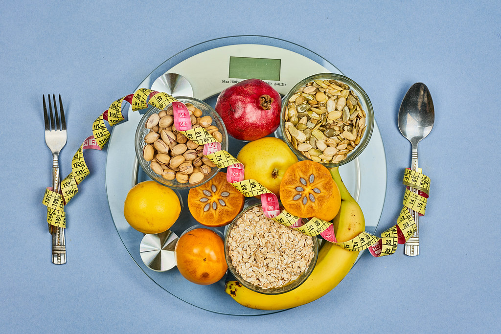 Selection of organic fruits and nuts for weight loss