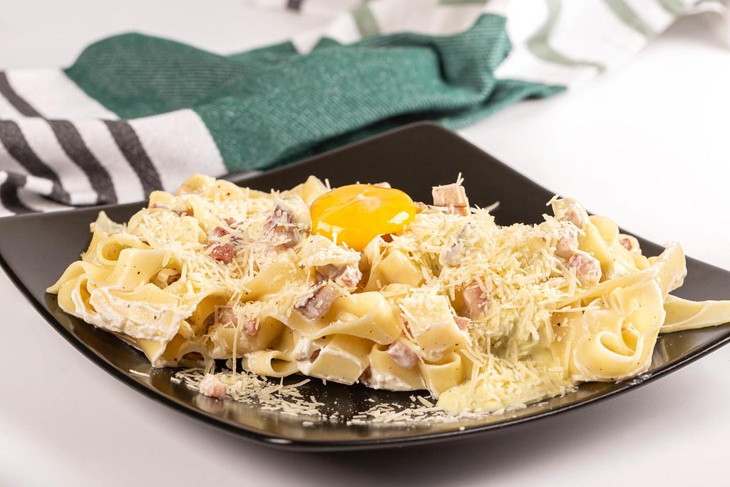 Carbonara pasta- spaghetti with bacon, parmesan and yolk egg