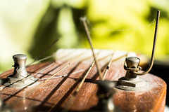 String on a dusty old guitar