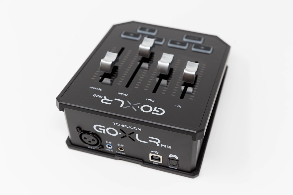 Close-up of small compact mixer by TC Helicon: GO XLR MINI for podcast and online broadcast