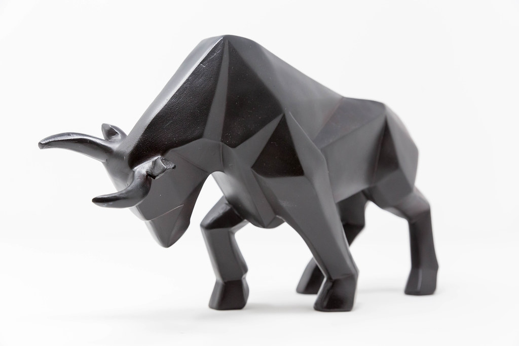 Close-up of a black bull as a symbol of stock rally in global markets