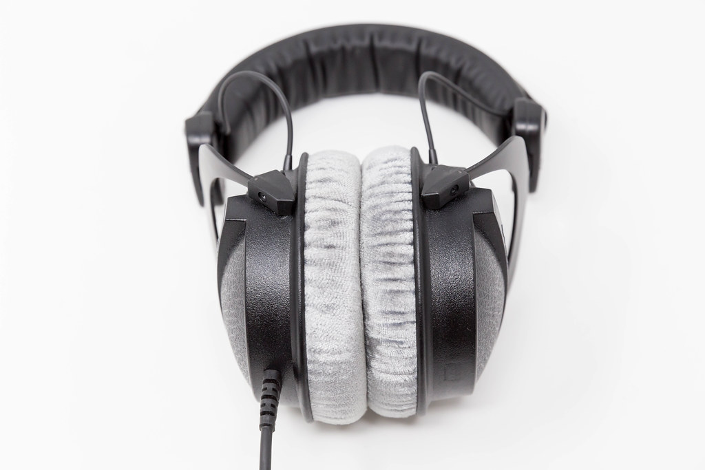 Close-up of closed studio headphones Beyerdynamic DT 770 PRO with soft, circumaural ear pads