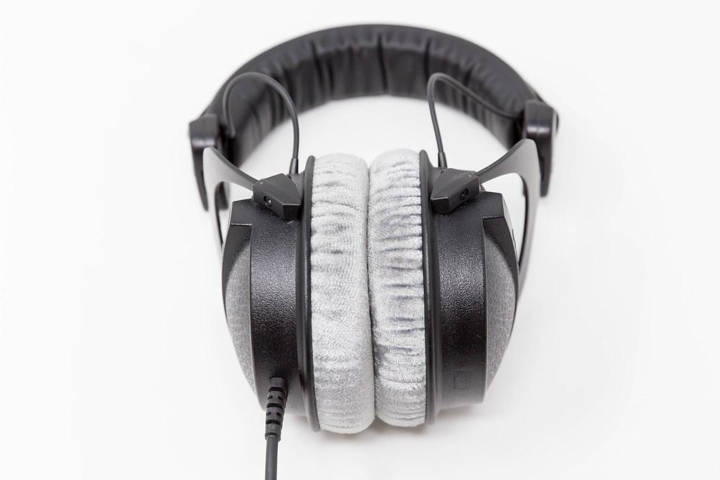 Close-up of closed studio headphones Beyerdynamic DT 770 PRO with soft, circumaural ear pads