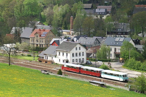 Ferkeltaxe 772 312-5 im Bahnhof Markersbach 16-05-2010
