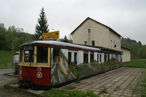 Voormalig station Breitenbrunn in het Erzgebirge  een voormaile S-Bahn van Berlijn 21-05-2010