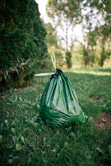 Green plastic garbage bag on the lawn.