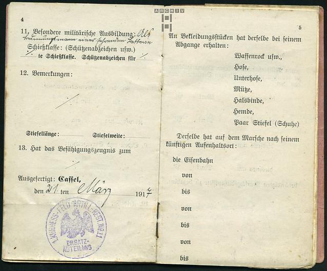 Photo:ArchivTappenZ32Album y, Militärpaß, WWI 1914-1918 By Hans-Michael Tappen