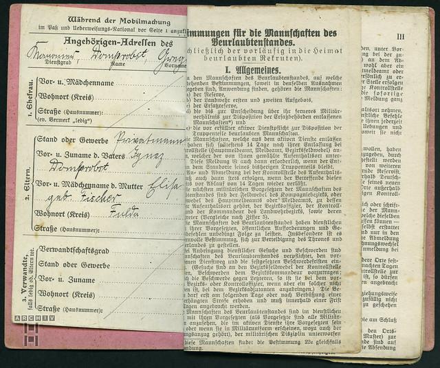 Photo:ArchivTappenZ23Album y, Militärpaß, WWI 1914-1918 By Hans-Michael Tappen