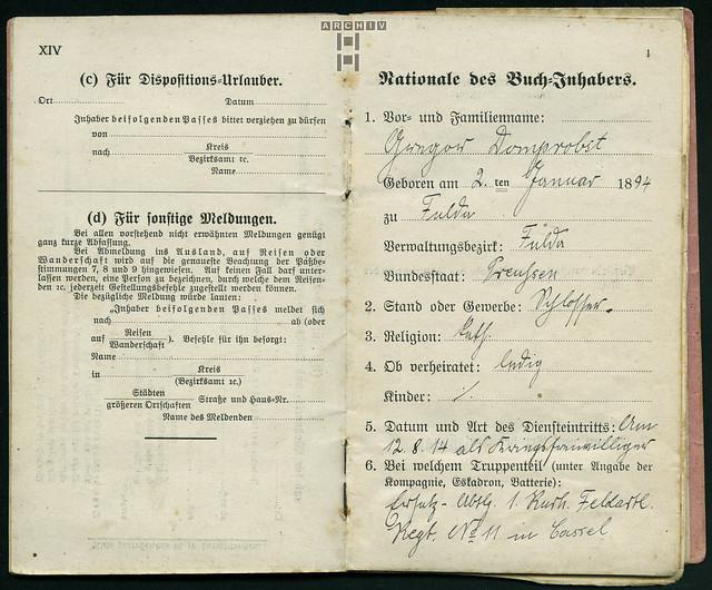 Photo:ArchivTappenZ30Album y, Militärpaß, WWI 1914-1918 By Hans-Michael Tappen