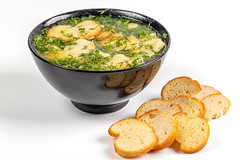 Potato soup with dill and crackers