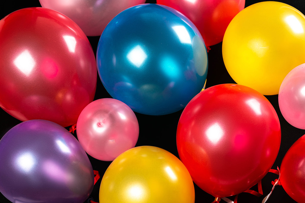 Festive background for birthday with colorful balloons