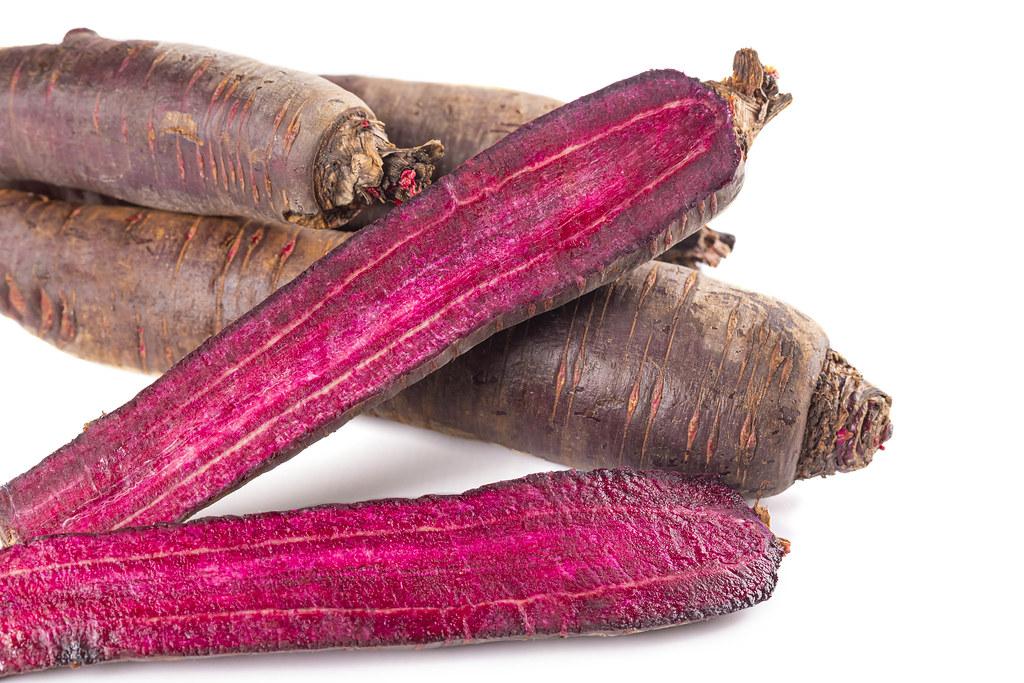 Close-up, ripe cut purple carrots