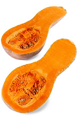 Halves of fresh raw butternut pumpkin