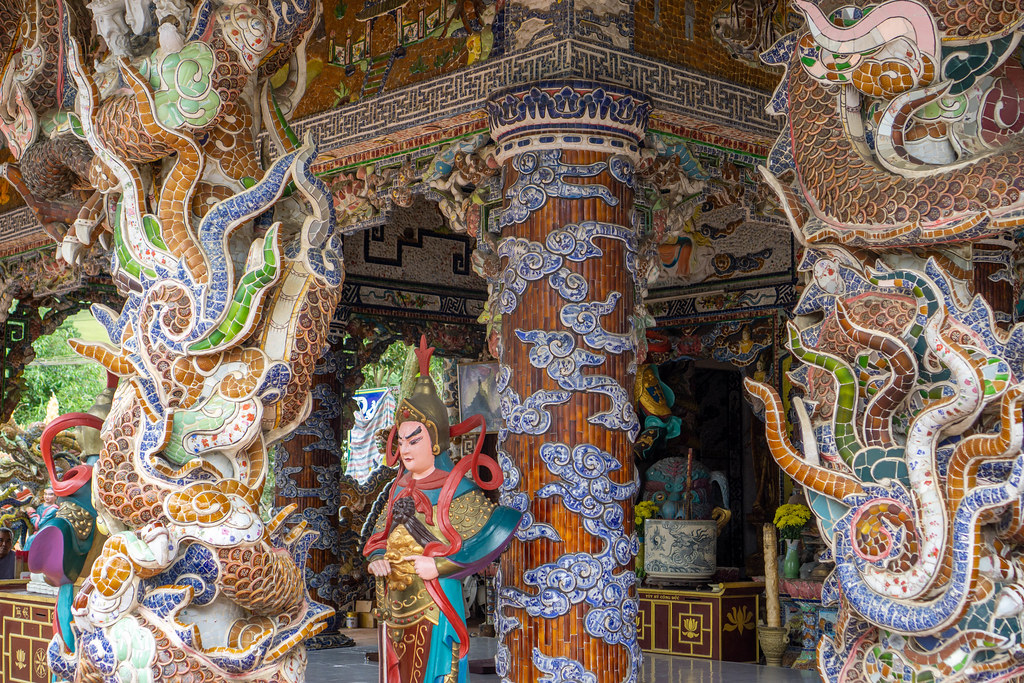 Statues, Mosaic Ornaments and Offerings at Linh Phuoc Pagoda in Da Lat, Vietnam