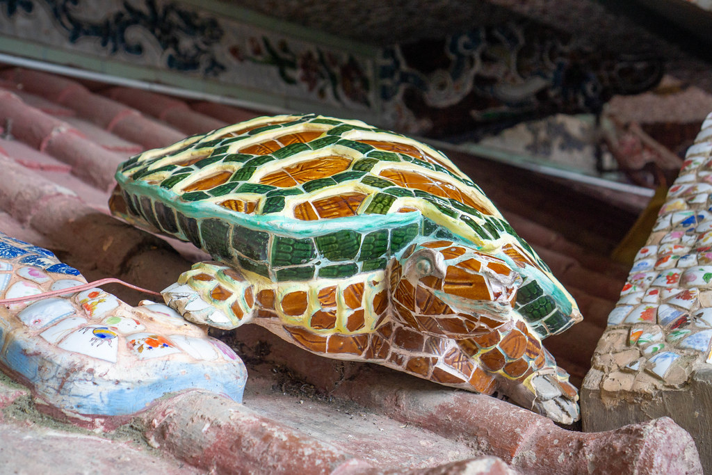 Turtle made of Cobblestone Mosaic at a Pagoda in Vietnam