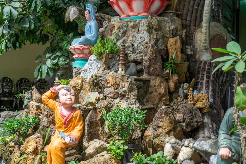 Decorations with Buddhist Statues at a Pagoda in Vietnam