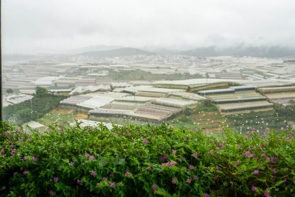 View of Mountains and Grow Houses from a Window of a Cafe in Da Lat, Vietnam