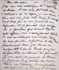 Lettre de G. de Chirico à Paul Guillaume (Musée de l'Orangerie, Paris)