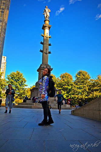 Me & The Columbus Statue Monument at Columbus Circle Midtown Manhattan New York City NY P00689 DSC_2035