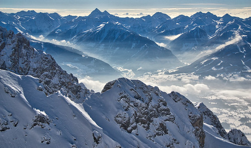 View from the Dachstein down to the Enns valley and the Schladminger Tauern