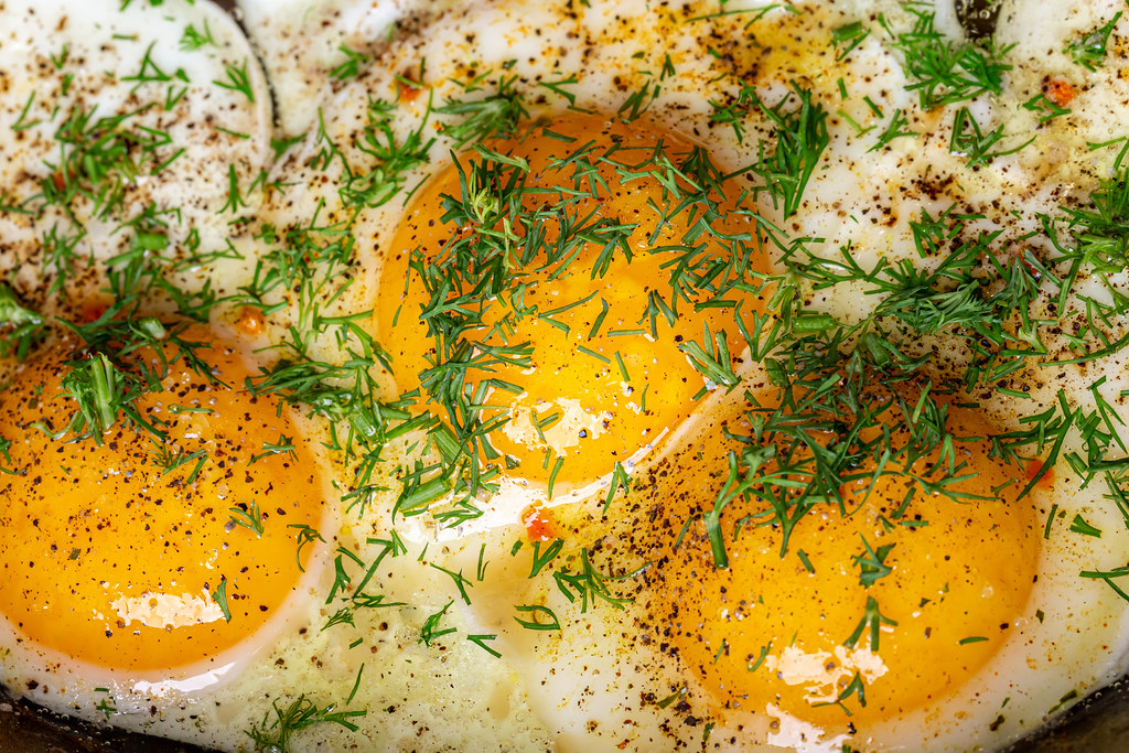 Close-up, eggs with spices and dill