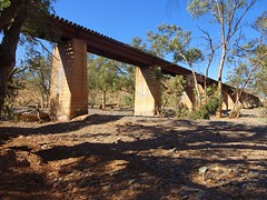 Leigh Creek. The Port Augusta to Leigh Creek coalfields railway. A bridge over Windy Creek which only flows after heavy rains. This new line and bridge was built in 1957. The original trian line was built in 1882.