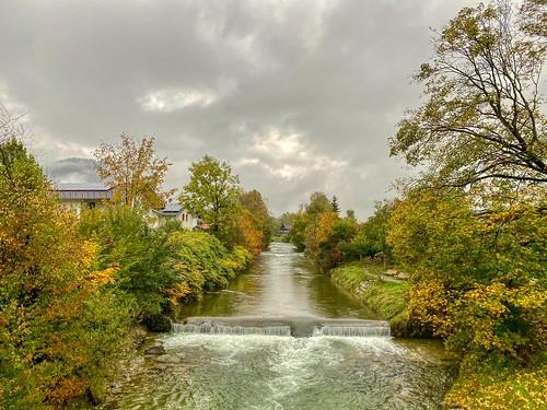 Kieferbach creek in autumn in Kiefersfelden in Bavaria, Germany