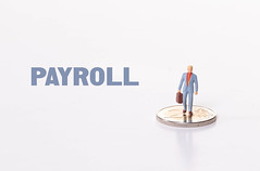 Man standing on 2 Euro coin with Payroll text