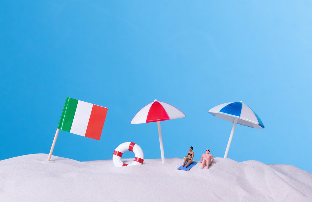Flag of Italy on the beach