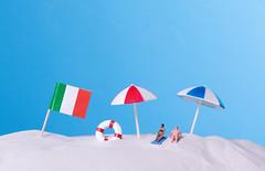 Flag of Italy on the beach
