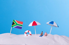 Flag of South Africa on the beach