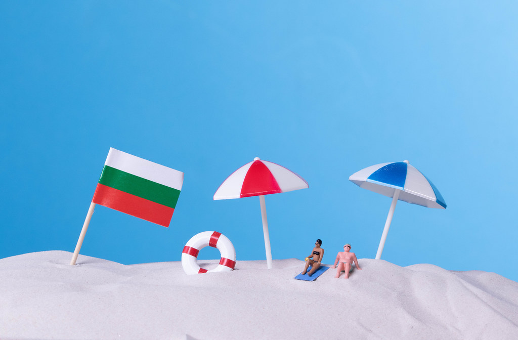 Flag of Bulgaria on the beach