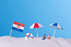 Flag of Croatia on the beach