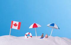 Flag of Canada on the beach
