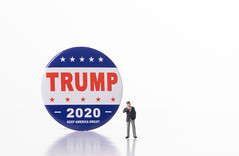 Businessman with Trump 2020 campaign badge