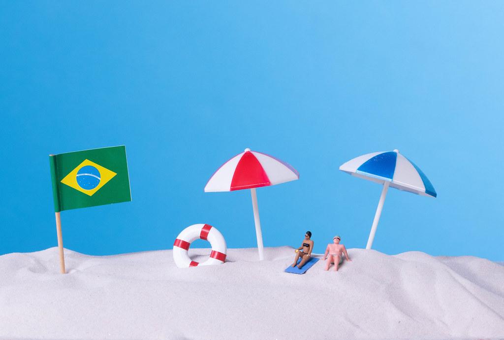 Flag of Brazil on the beach